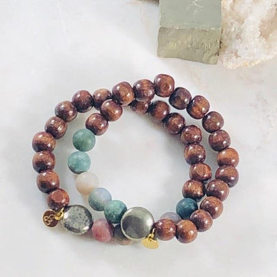 Strength Stacking Bracelet Men's Intentionally Created for Grounding and Root Chakra