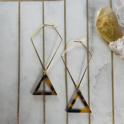 Tori Tortoise Triangle Earrings