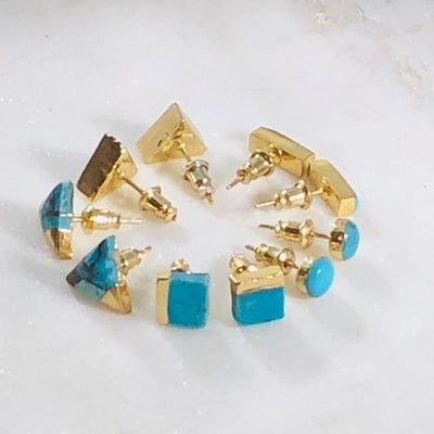 Turquoise with Gold Triangle Earrings for a Modern, Boho Style