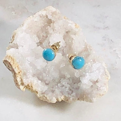 Turquoise Round Stud Earrings for a Modern, Boho Style