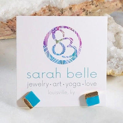 Turquoise with Gold Square Earrings for a Modern, Boho Style
