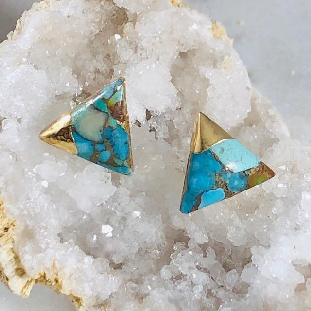 Turquoise with Gold Triangle Earrings