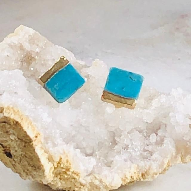 Turquoise with Gold Square Earrings