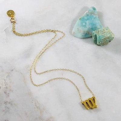 Virgo Charm Necklace with Healing Crystal Perfect Gift
