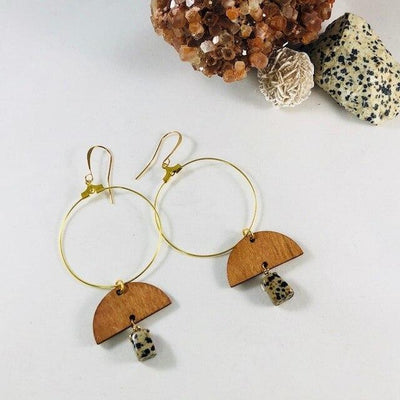 Wood Dalmatian Jasper Hoop Earrings Healing Jewelry for Negativity and Depression