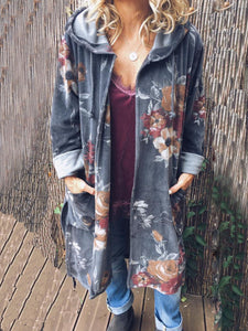 Plus Size Casual Pockets Long Sleeve Outerwear