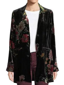 Black Long Sleeve Shift Coral Velvet Floral Outerwear