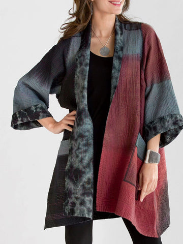 Plus Size Long Sleeve Abstract Outerwear