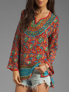 Women V Neck Tribal Vintage Shirts & Tops
