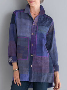 Blue Plain Cotton-Blend Shirt Collar Long Sleeve Shirts & Tops