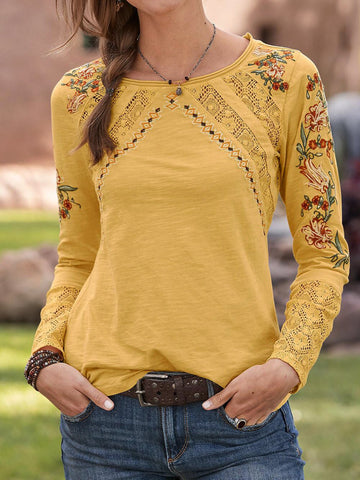 Yellow Floral Casual Shirts & Tops