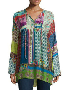 Printed Patchwork V Neck Casual Shirts & Tops
