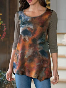 Brown Abstract Crew Neck Cotton Long Sleeve Tops