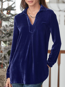 Long Sleeve Velvet Plus Size Shirts & Tops