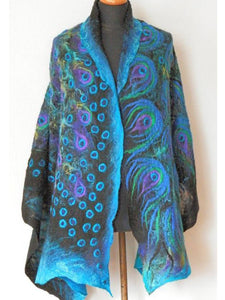 Blue Printed Casual Outerwear