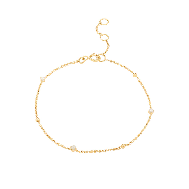 Gold Chain Pearl Bracelet