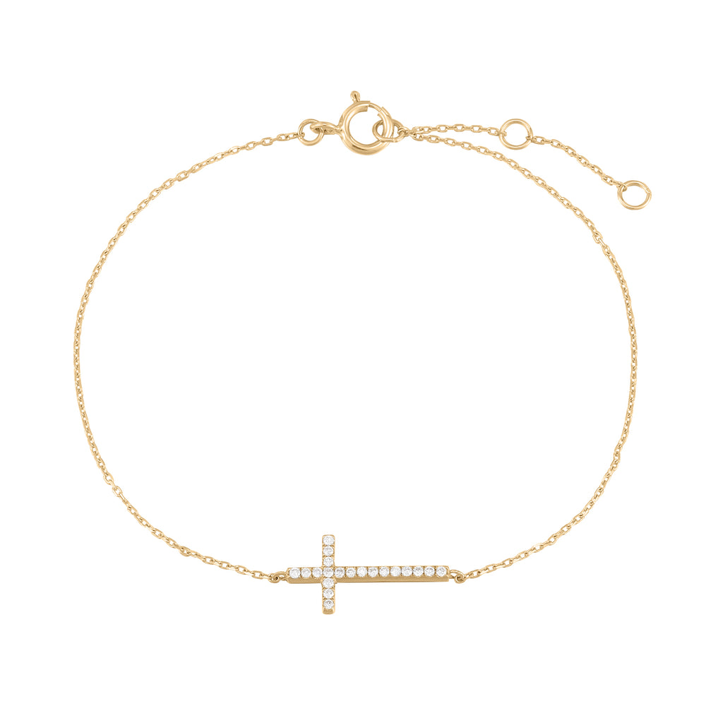 Tension | White Diamond Cross Bracelet