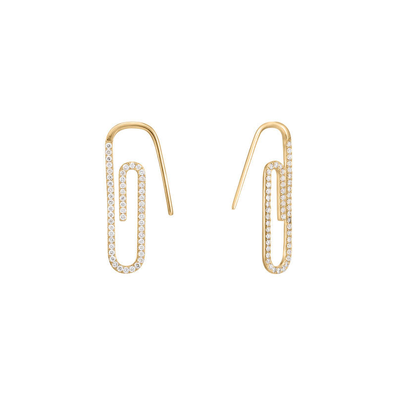 Tension | White Diamond Paper Clip Hoop