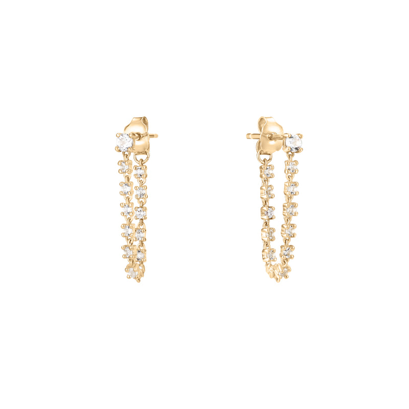 Tension | White Topaz Chain Studs Earring