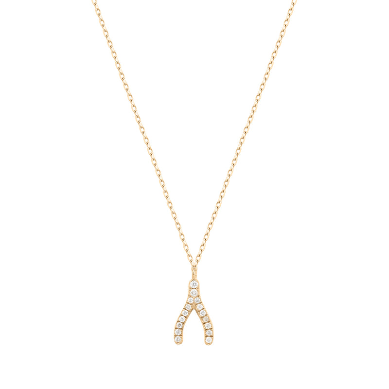 Talisman | White Diamond Wishbone Necklace