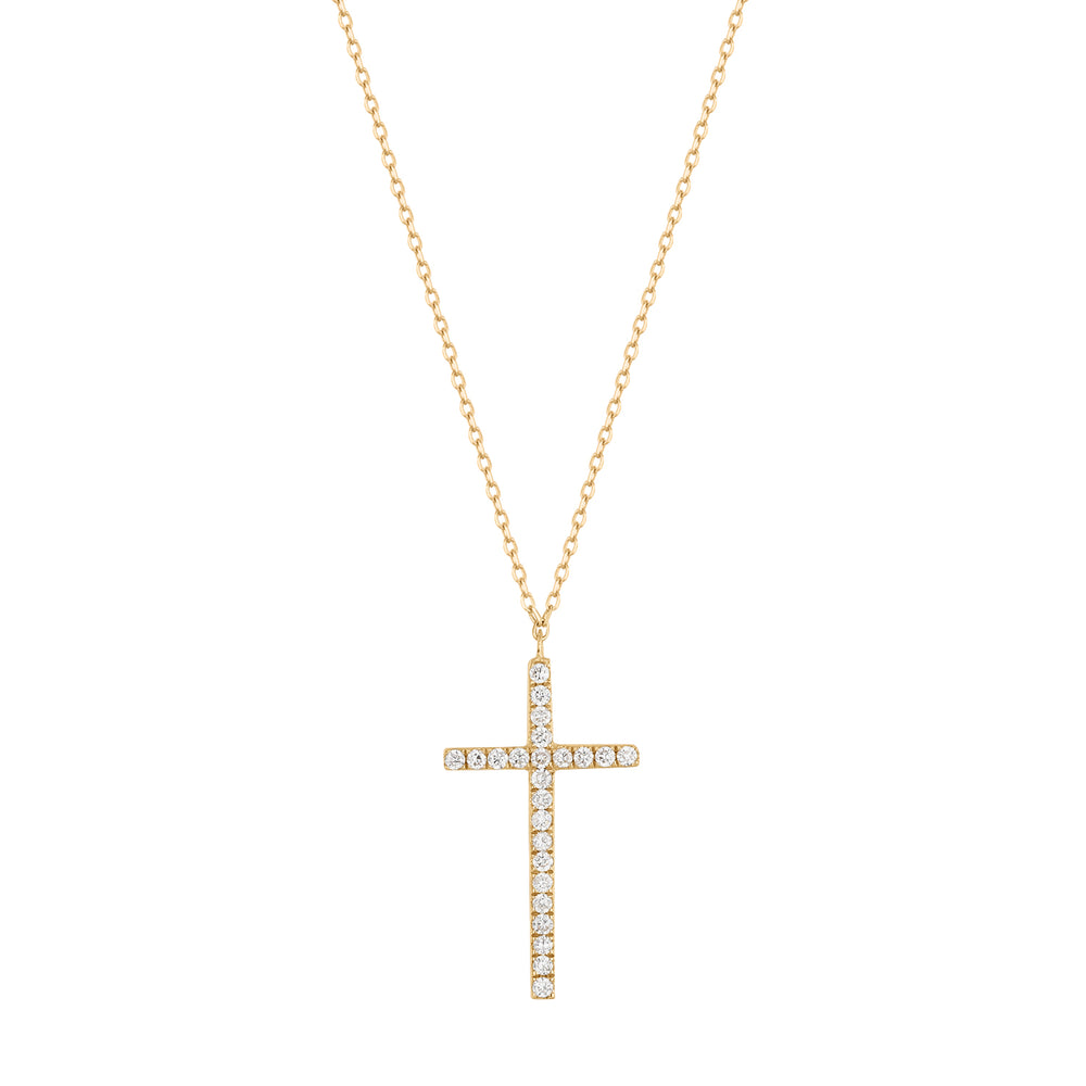 Tension | White Diamond Cross Necklace