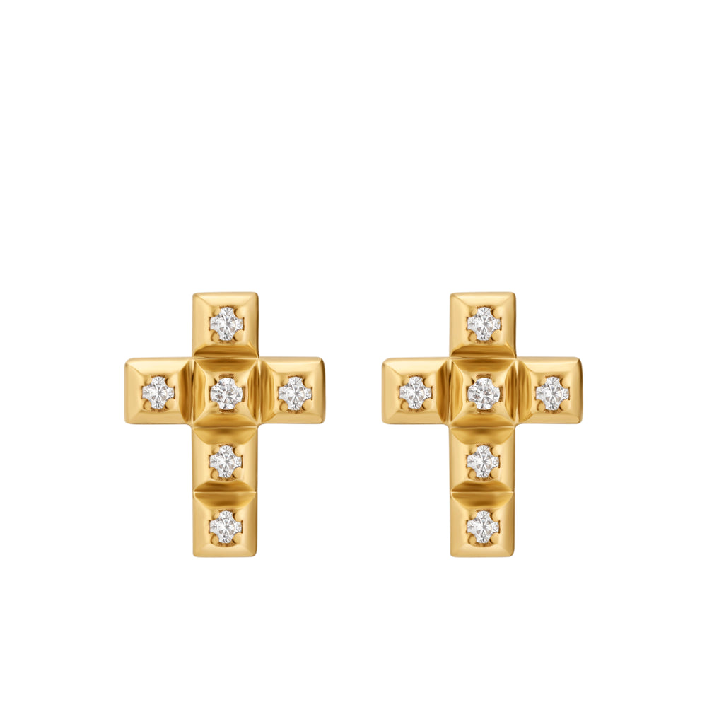 Yellow Gold Cross CZ Studs