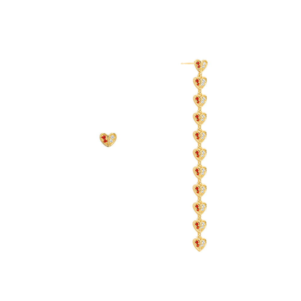 The Beauty of Ambiguity | Red CZ Heart Earring