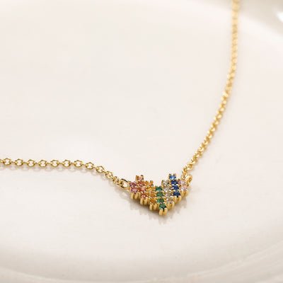 The Beauty of Ambiguity | Rainbow CZ Heart Necklace