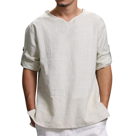 Men's T-shirts Summer New Pure Cotton And Hemp Top Comfortable Fashion Blouse Top Men's t-Shirts For Men Plus Sizes