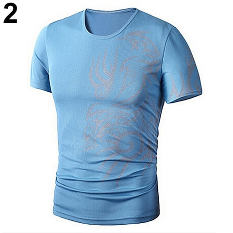 Men's Fashion Summer Cool Style Short Sleeve Round Neck Dragon Print T-shirt