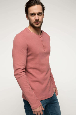 DeFacto Fashion Pink Man Long Sleeve Top Tees Casual Knitted Button Decors Cotton Men's T-Shirt I3857AZ18SPBR369
