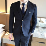 ( Jacket + Vest + Pants ) 2019 New Fashion Boutique Men's Plaid Formal Business Suit 3 Piece Set / Men's High-end Casual Suits
