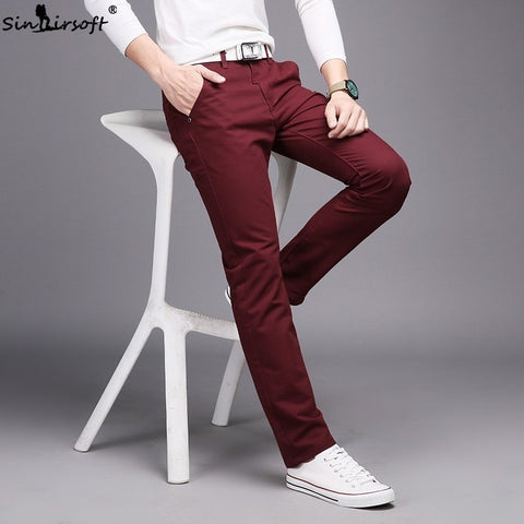 10 Colors New Casual Men's Cotton Slim Pants Leisure Straight Trousers Fashion Business Solid Long Leg Pencil Pant Plus Size Hot