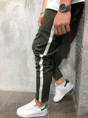 Men's Twill Fashion Jogger Pants New Stripe Urban Straight Casual Trousers Slim Fitness Long Pants S-3XL