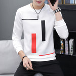 Spring and Autumn New men's printed long-sleeved T-shirt teen round neck bottom top fashion casual men's clothing