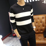 Spring Autumn Men Printed Long-sleeved T-shirt Teen Round Neck Stripe Bottom Top Fashion Casual Men's Clothing