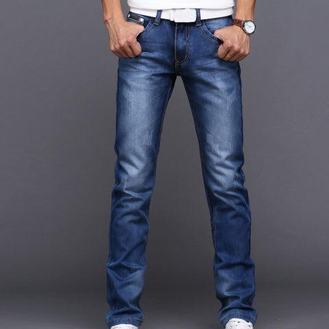 Summer Men's Washed Jeans Business Fashion Casual Trend Trousers Men Pants Spring  Autumn Summer