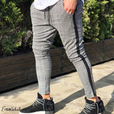 Fashion Pantalon Hombre Striped Long Pants Men's Fleece Lined Plaid Joggers Zip Pocket Track Pants Sweatwear