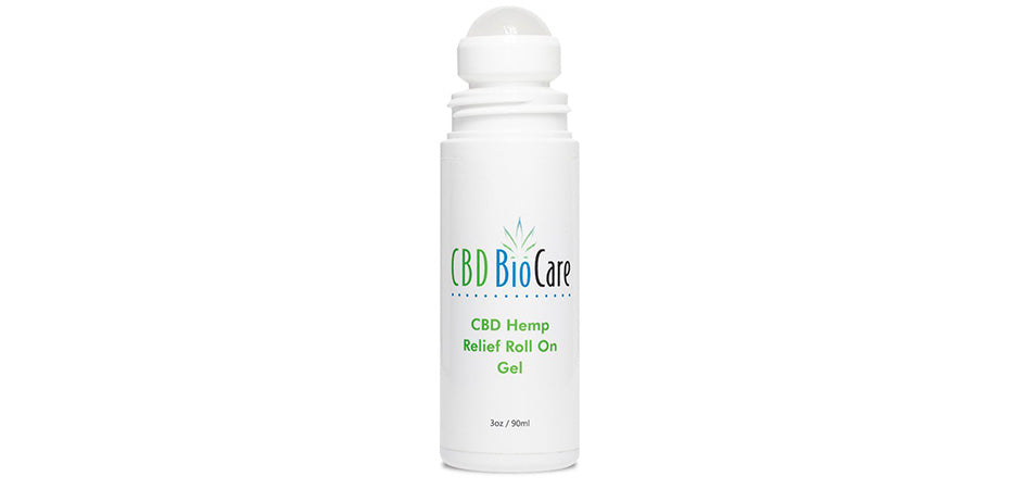 CBDBioCare hemp relief roll-on gel for sale.