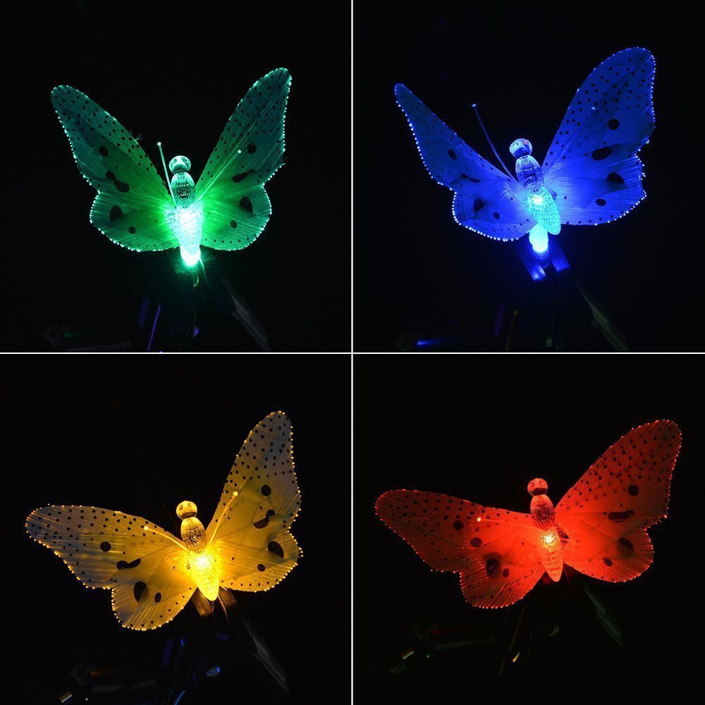 12 Led Solar Powered Butterfly Fiber Optic Fairy String  Lights - Premiersolartech
