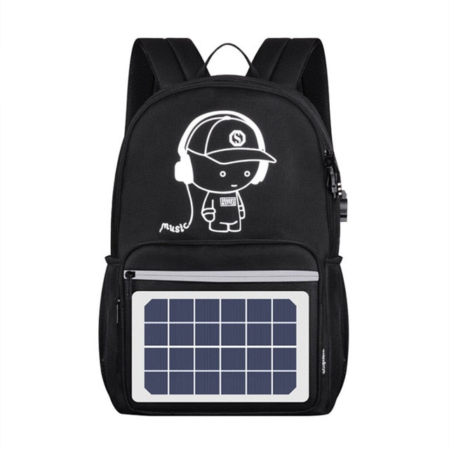 Solar Panel Men Backpack Powered Backpack Usb Charging Anti-Theft Laptop Travel Backpacks for Men Canvas Backpack Waterproof Bags - Premiersolartech