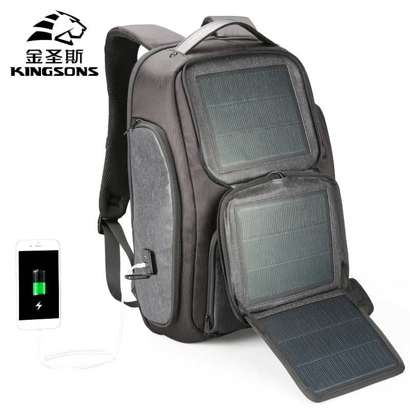 Kingston Backpack Men Solar 15.6 Inch Laptop Anti Theft Backpack USB Charging Mini Back Pack for Teenager Boy Travel Rucksack Bag - Premiersolartech