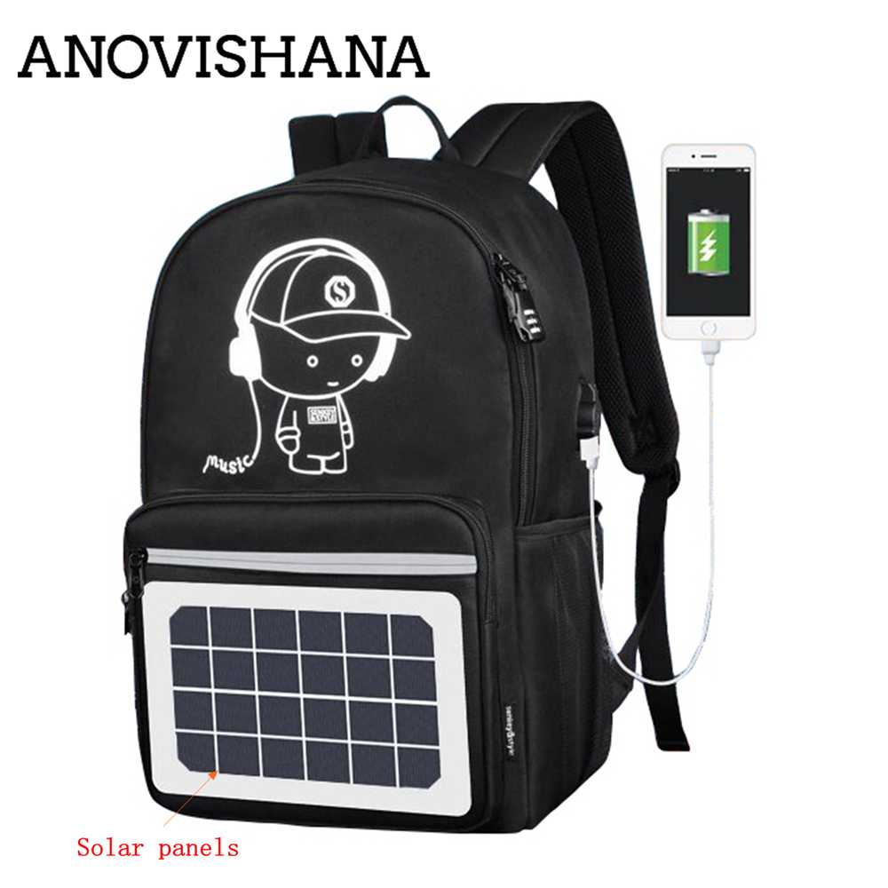 ANOVISHANA Multifunction Solar Energy Men Backpack Waterproof 14 inch Laptop USB Charging Backpack Leisure Travel Bag Unisex N020 - Premiersolartech