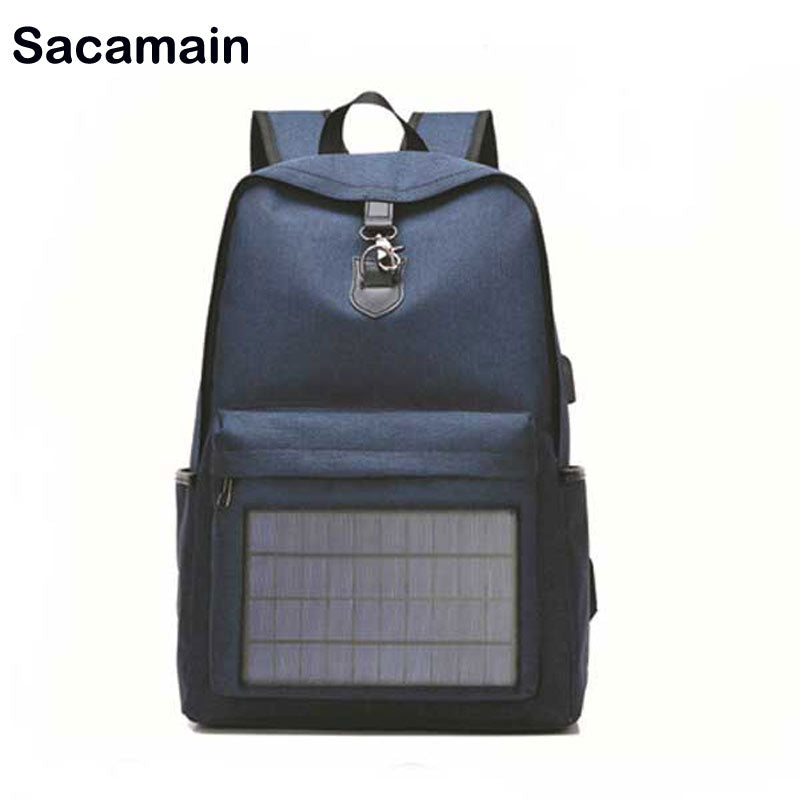Solar Panel Men Backpack Powered Backpack Usb Charging Laptop Travel Backpacks Canvas Casual Comfortable Backpack Waterproof Bags - Premiersolartech