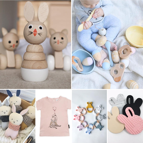 selection of gifts teethers, clothes, kitchenware