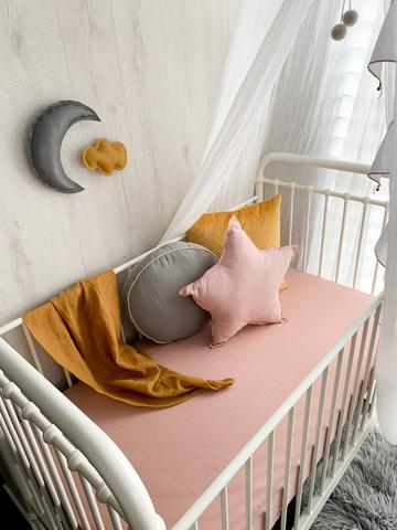 POP YA TOT  - Muslin Cot Sheet Ballet Blush