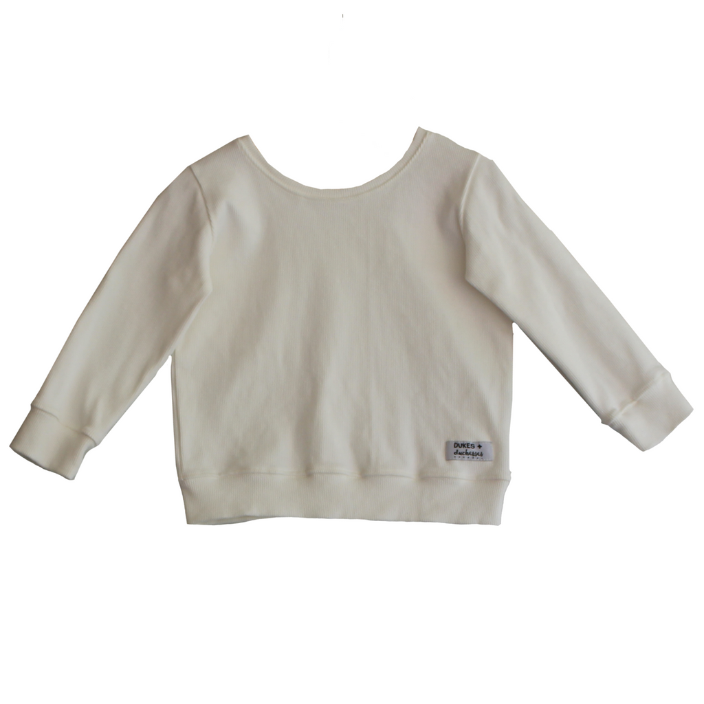 DUKES + DUCHESSES APPAREL - White Long Sleeve Ribbed Top
