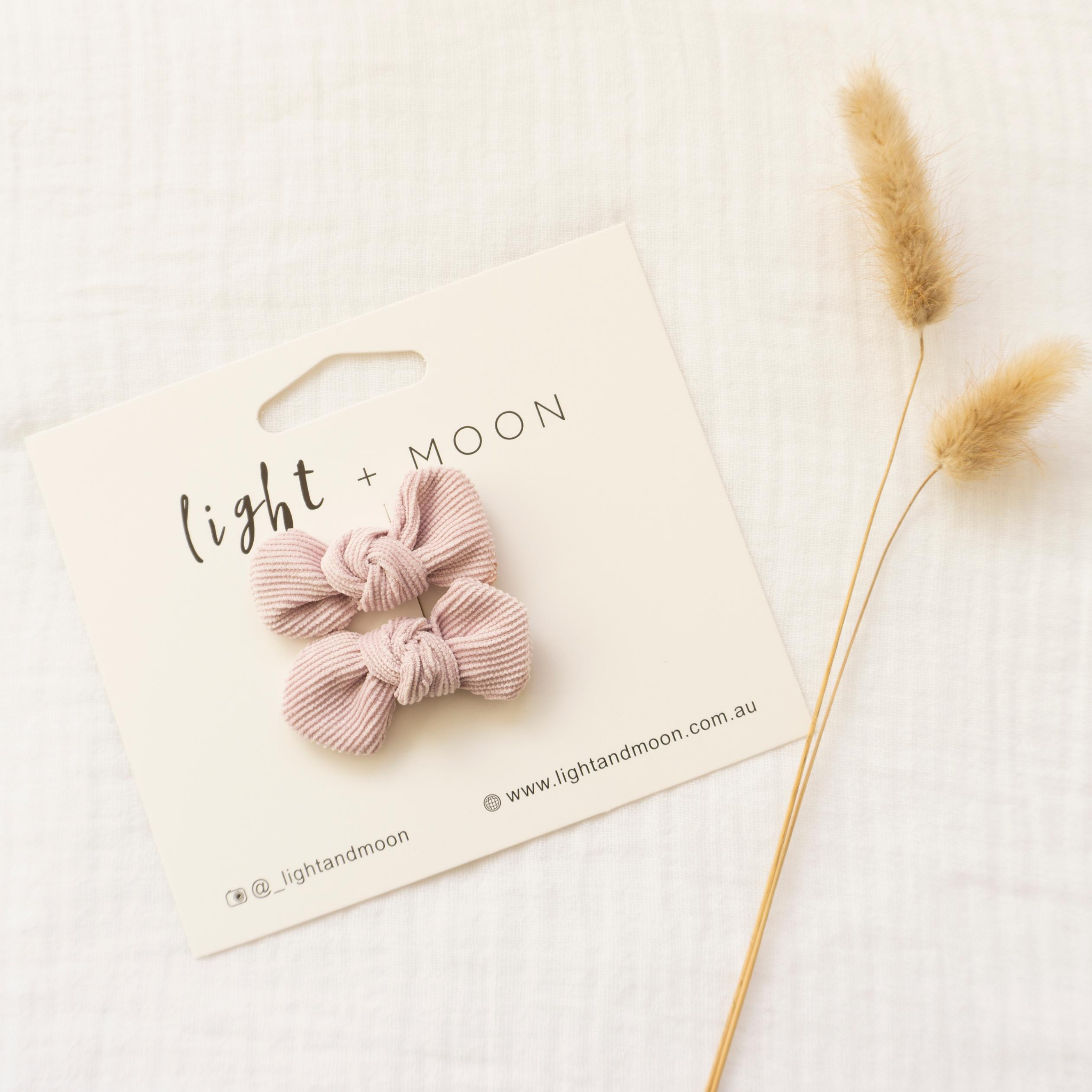 LIGHT + MOON - Bow Clips 2pk