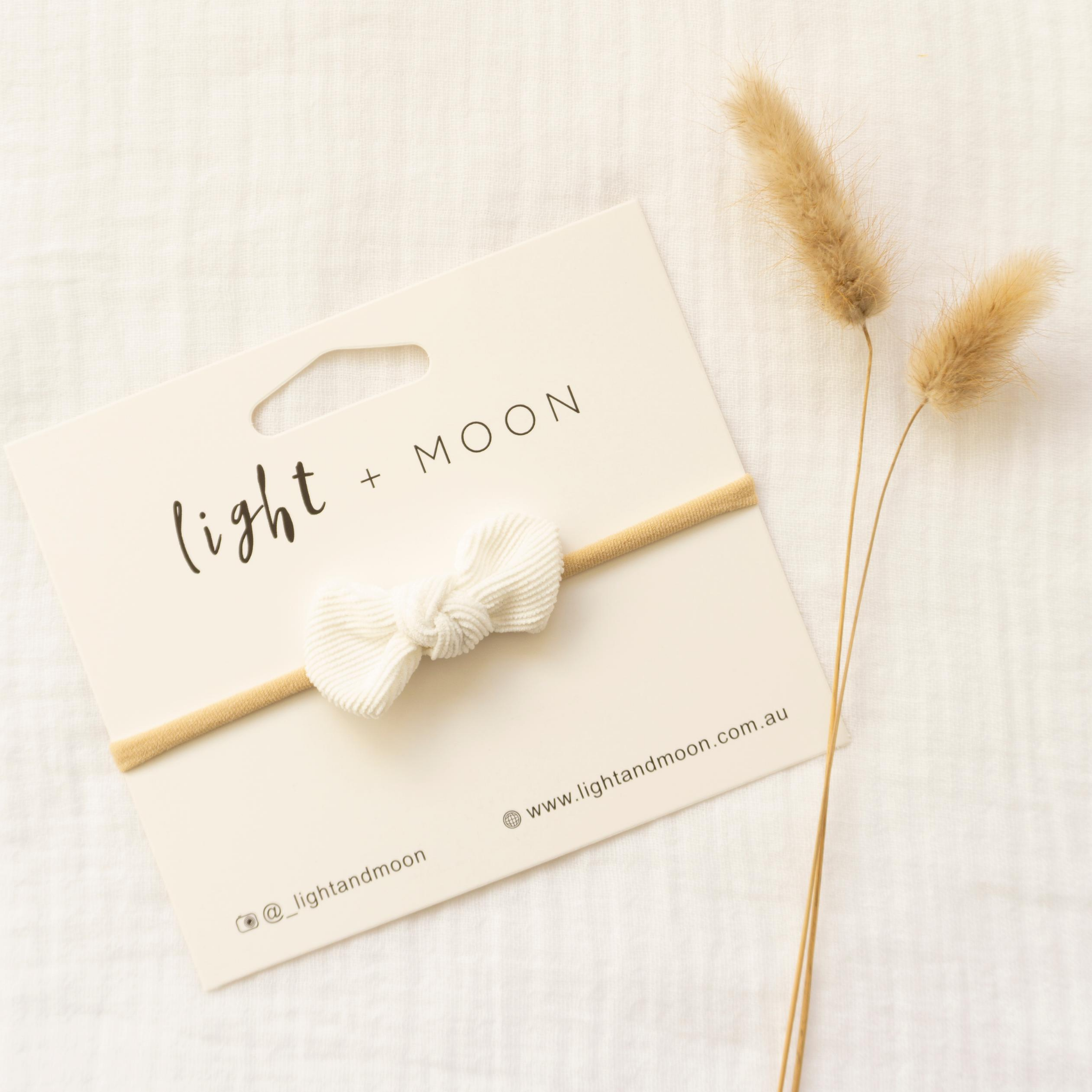 LIGHT + MOON - Mini Corduroy Bow Headband