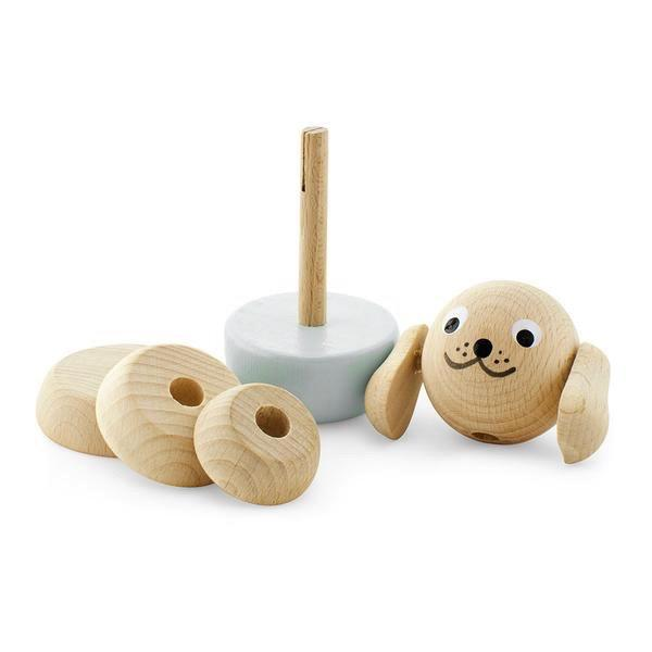 HAPPY GO DUCKY- Wooden Stacking Puzzle Dog - Bella